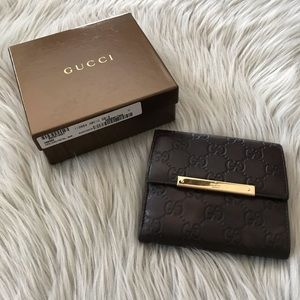 GUCCI Metal Bar Guccissima Leather Wallet